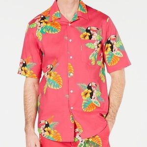 Club Room Hawaiian pink button down shirt sleeve